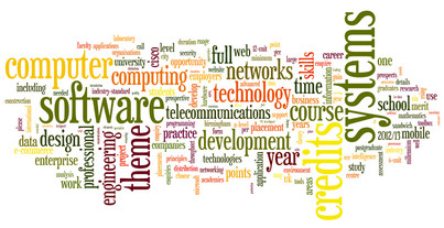 Word cloud showing the BSc Computer Science course at Birmingham City University