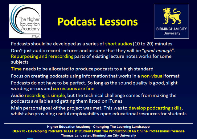 Overview of the lessons from developing podcasts for the Higher Education Academy